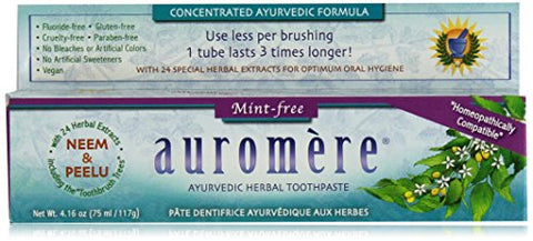 Auromere Herbal Toothpaste, Mint Free, 4.16-Ounces (Pack of 4)