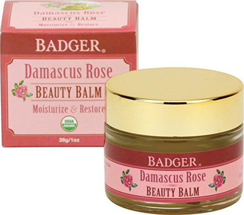 Badger Damascus Rose Beauty Balm - 1 oz Glass Jar