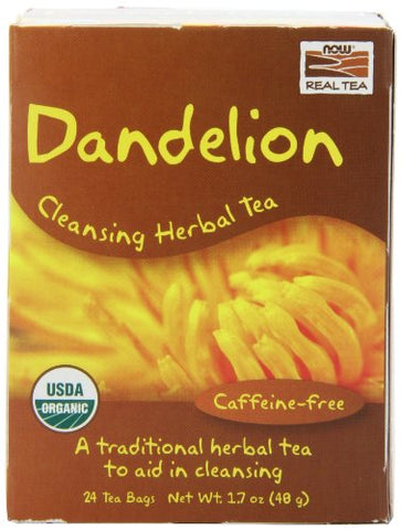 NOW Organic Dandelion Cleansing Herbal Tea,24-Count