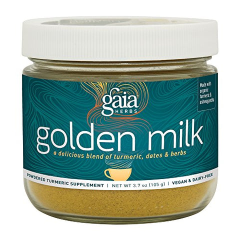 Gaia Herbs Golden Milk with Organic Turmeric Powder and Ashwagandha,3.7 Oz