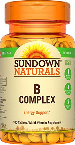 Sundown Naturals Vitamin B Complex, 100 Tablets each (Pack of 3)