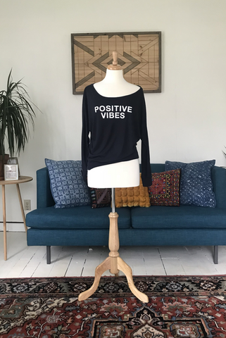 """Positive Vibes"" Slouchy Long-Sleeved"
