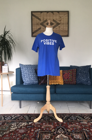 """Positive Vibes"" Simple Crew Neck Tee"