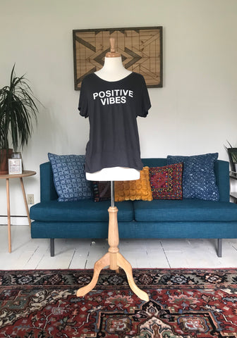 """Positive Vibes"" Drapey Tee"