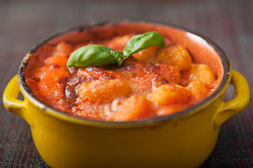 Gnocchi with tomato sauce and mozzarella