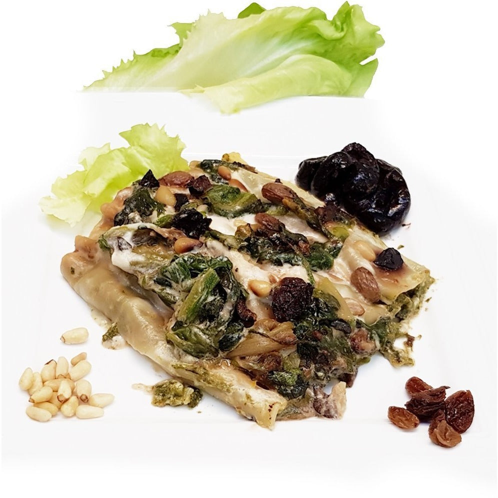 Cannelloni with Escarole, Gaeta olives, raisins and pine nuts