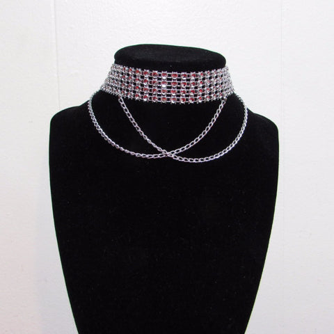 Rhinestone Choker with Chain