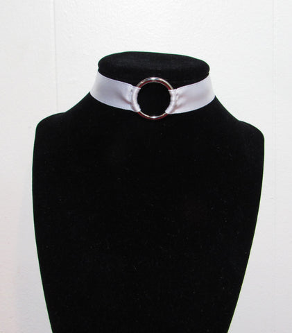 White Satin O-Ring Choker
