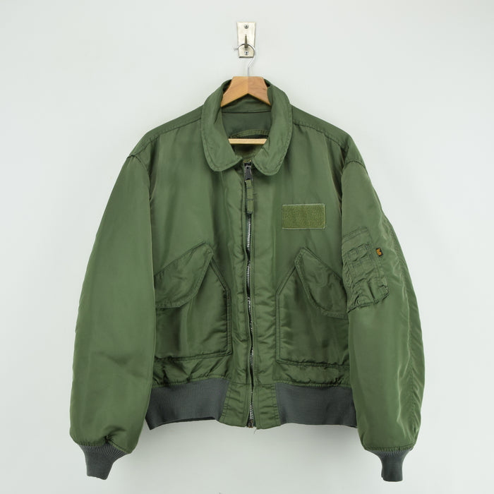 Vintage Alpha Industries CWU-45 Flyer's Man Flight MA-2 Green Bomber Jacket XL front