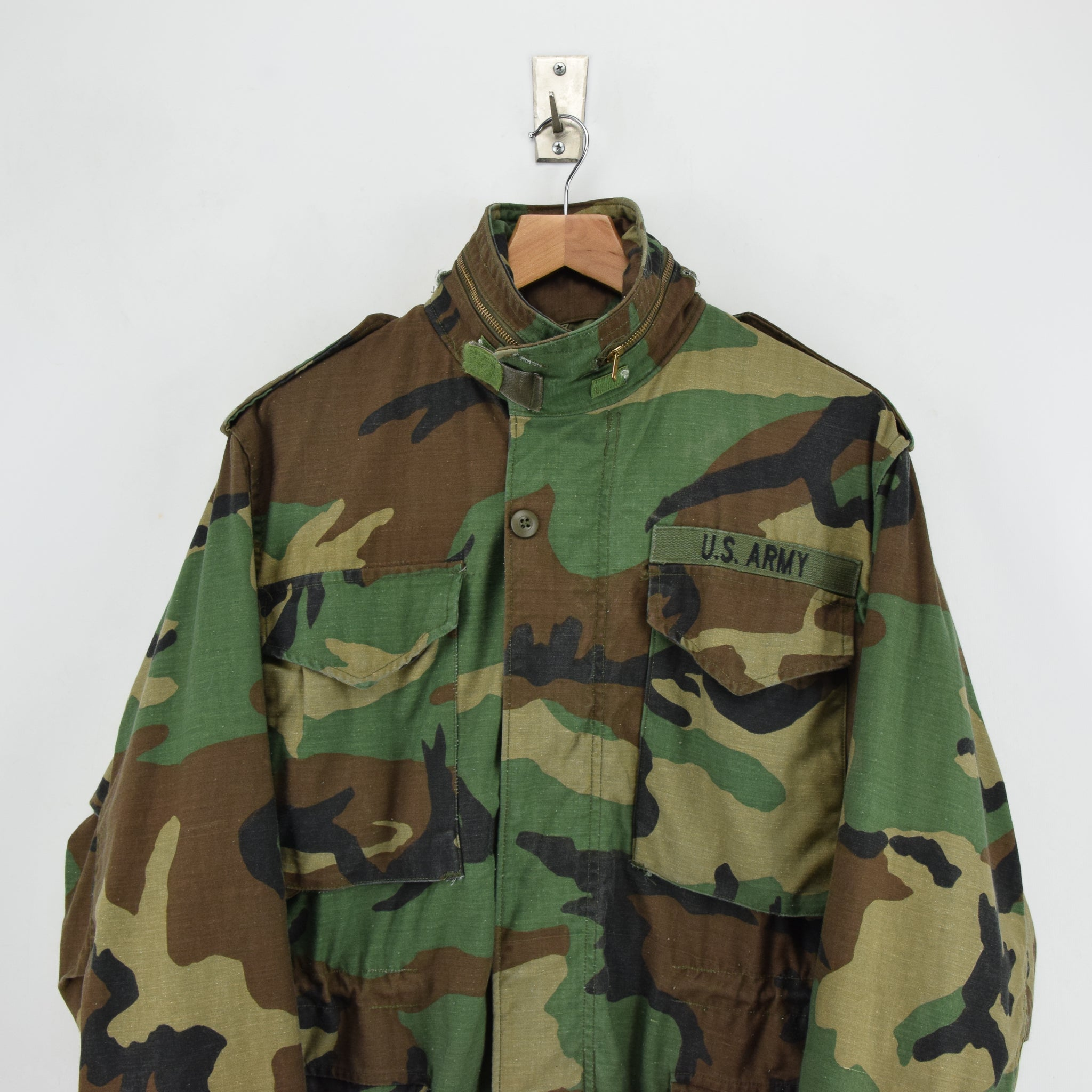 Vintage 80s Alpha Industries M-65 Woodland Camouflage Field Coat Army Jacket S chest
