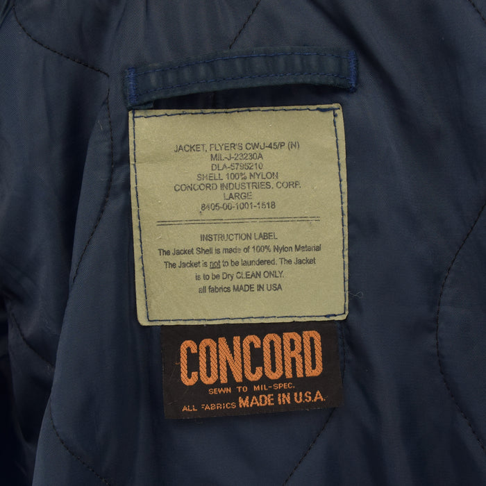 Vintage Concord Industries CWU-45 Flyer's Man Flight MA-2 Bomber Jacket L label