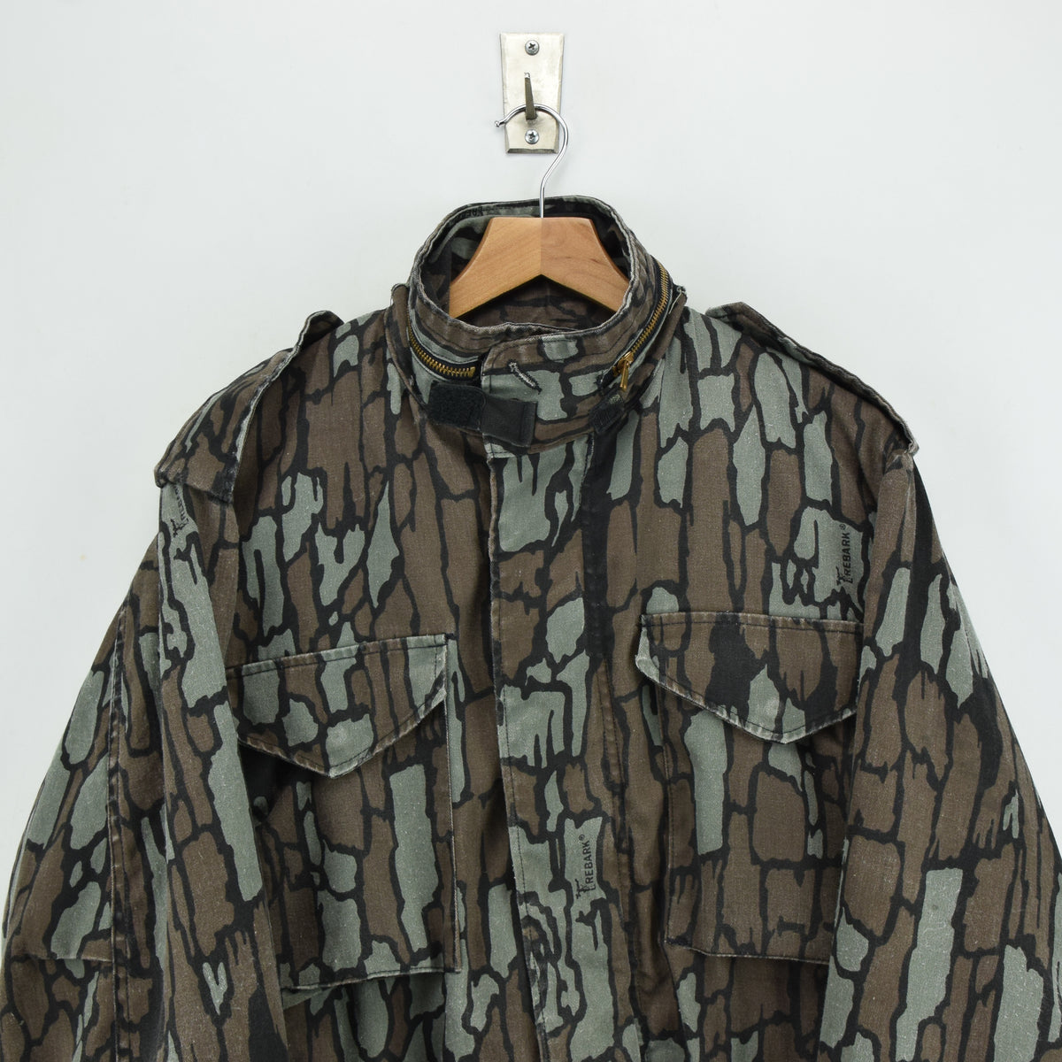 Vintage M-65 Alpha Industries Trebark Camouflage Field Coat Army Jacket M Reg chest