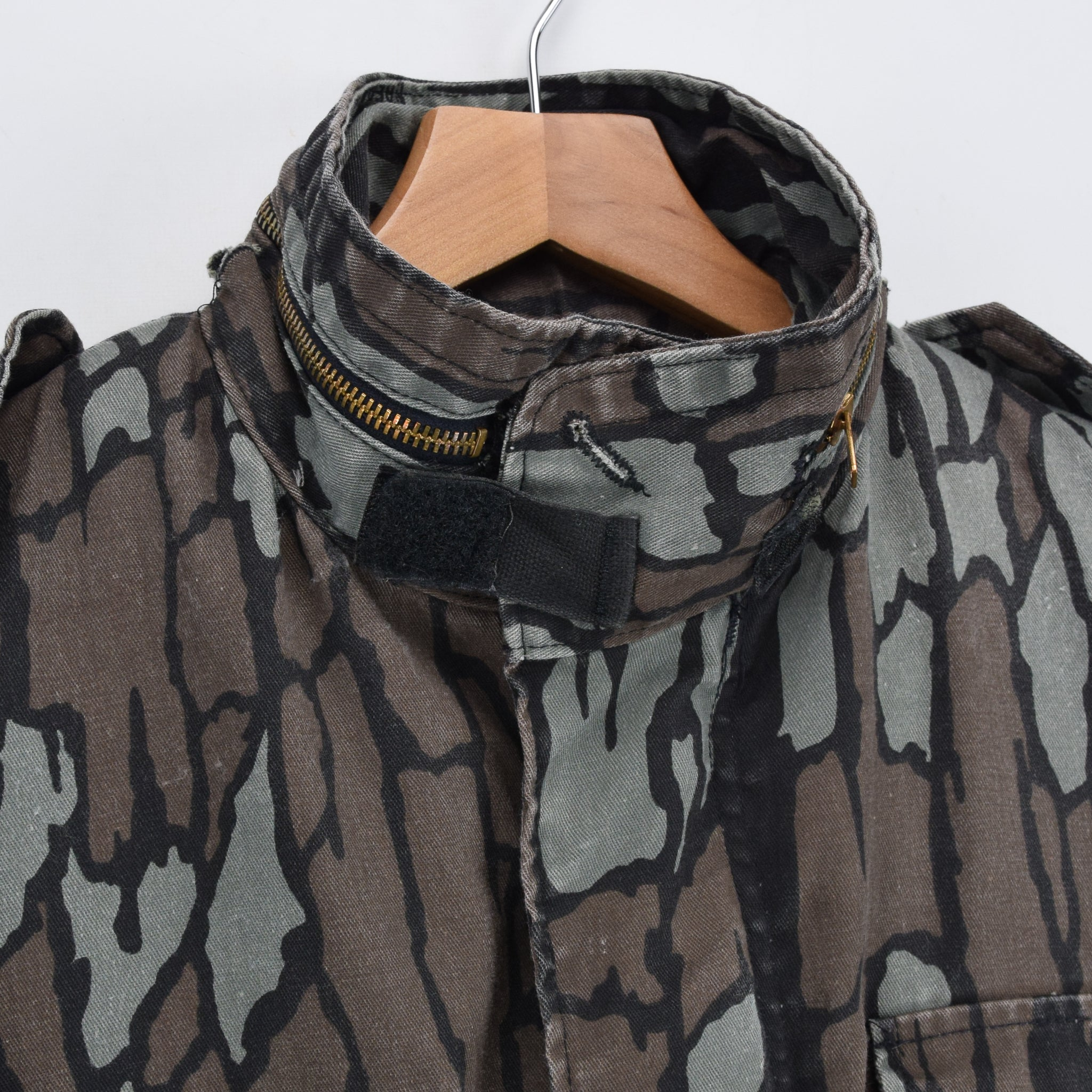 Vintage M-65 Alpha Industries Trebark Camouflage Field Coat Army Jacket M Reg collar