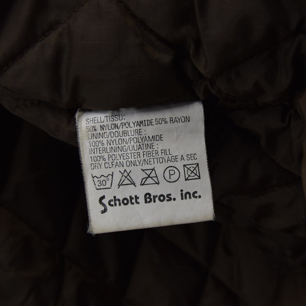 Vintage Schott NYC Men's Security Bronze Brown Bomber Jacket XL / XXL label