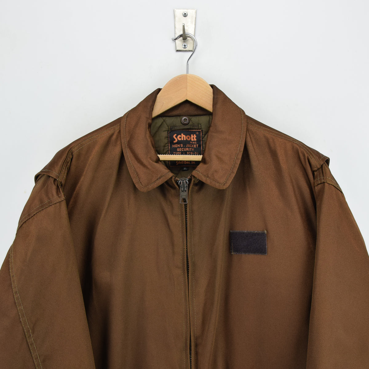 Vintage Schott NYC Men's Security Bronze Brown Bomber Jacket XL / XXL chest
