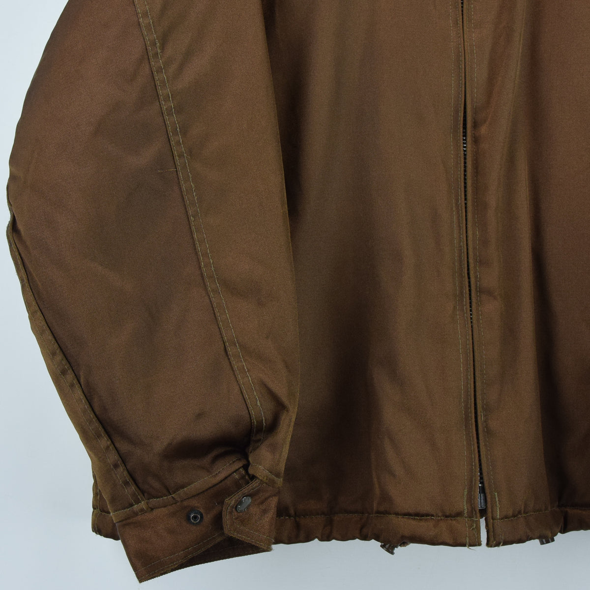 Vintage Schott NYC Men's Security Bronze Brown Bomber Jacket XL / XXL front hem
