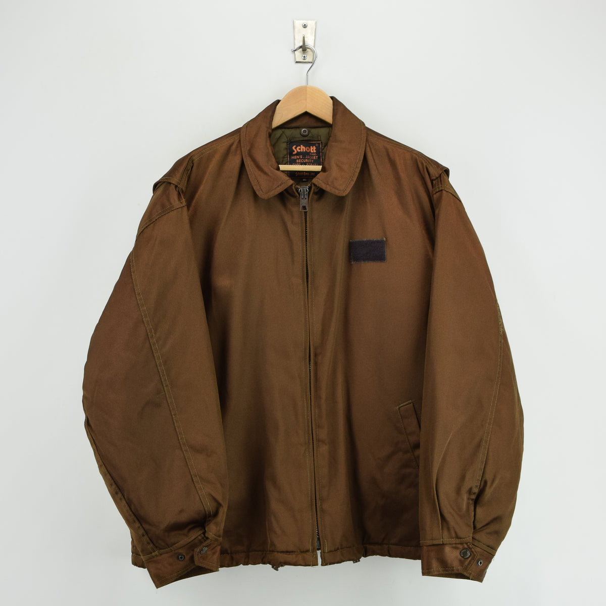 Vintage Schott NYC Men's Security Bronze Brown Bomber Jacket XL / XXL FRONT