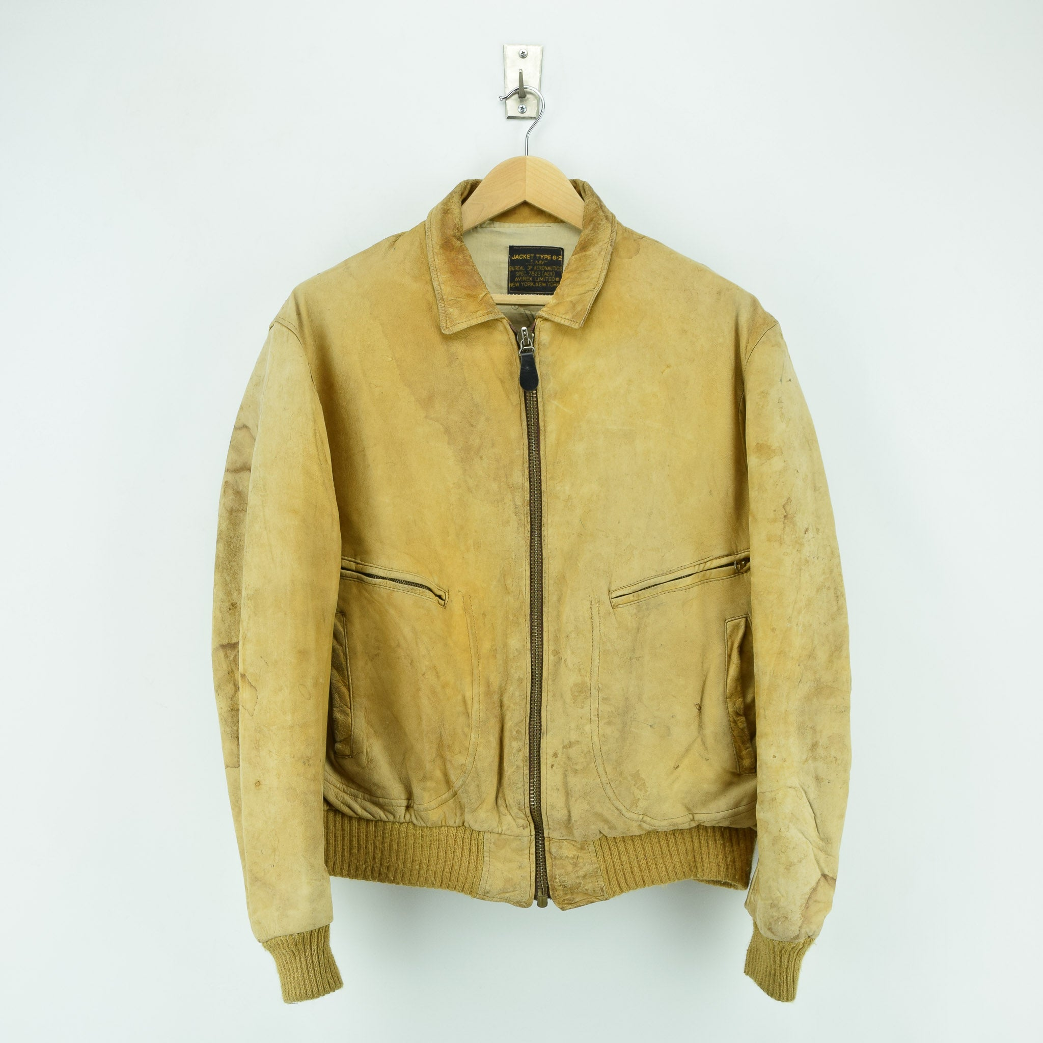 5ecfbedc677 Vintage Distressed Avirex G-2 Brown Leather Flight Bomber Jacket Made in USA  L front ...