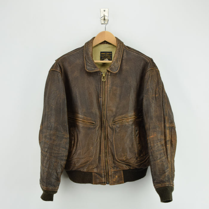 Vintage Distressed Avirex G-2 Brown Leather Flight Bomber Jacket USA Made M / L front