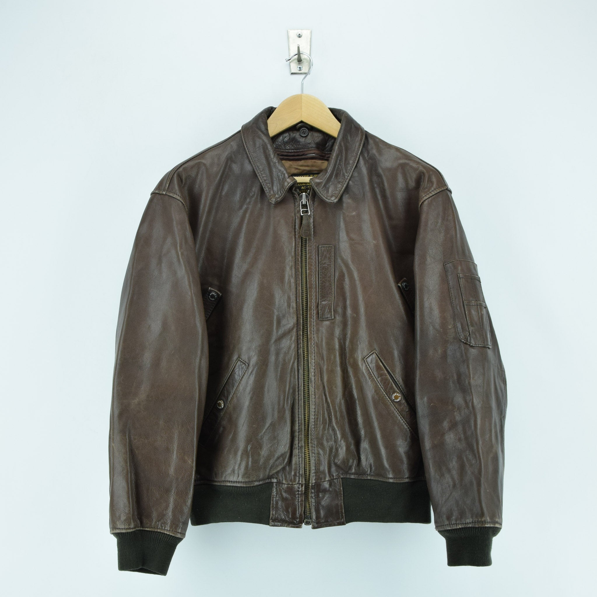 Vintage Avirex B-15 Brown Leather Flight Bomber Jacket L front