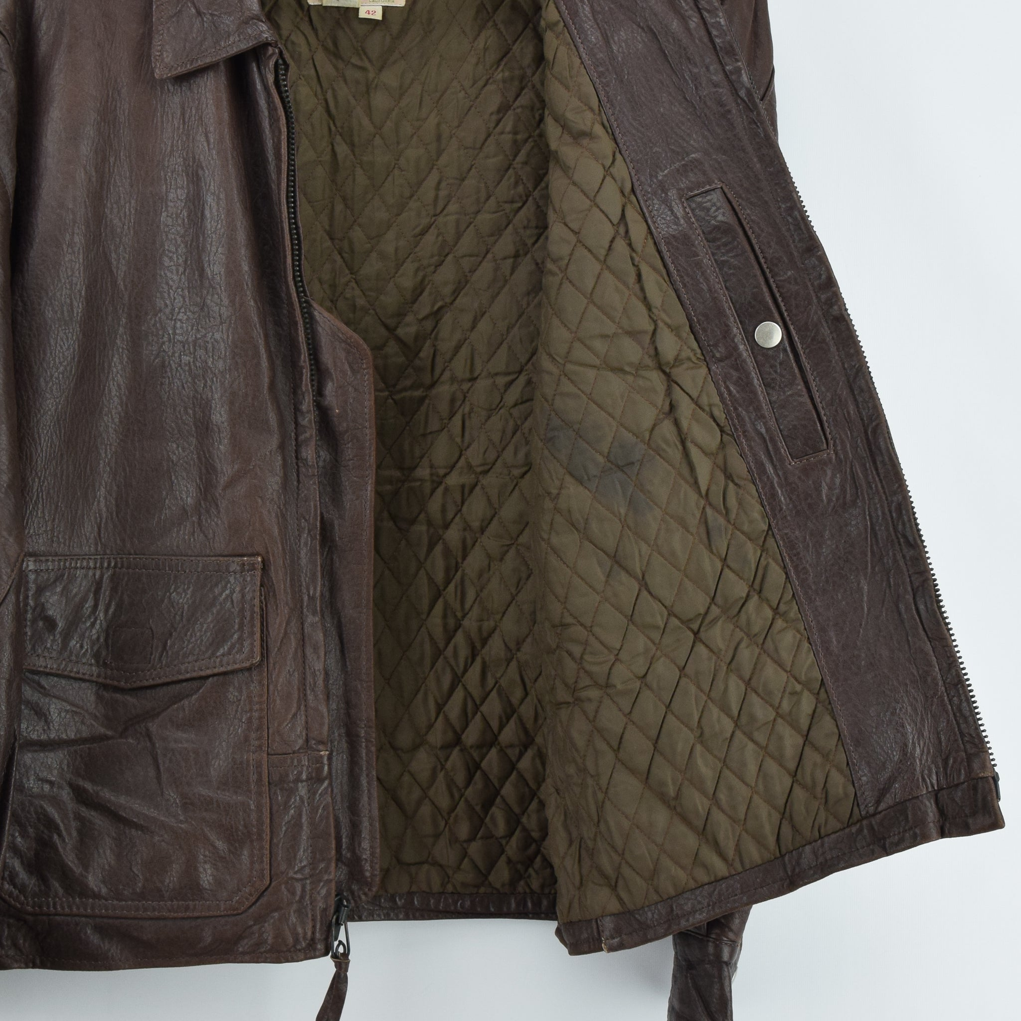 Vintage Banana Republic Brown Leather Bomber Biker Style Jacket Made in USA L internal pocket