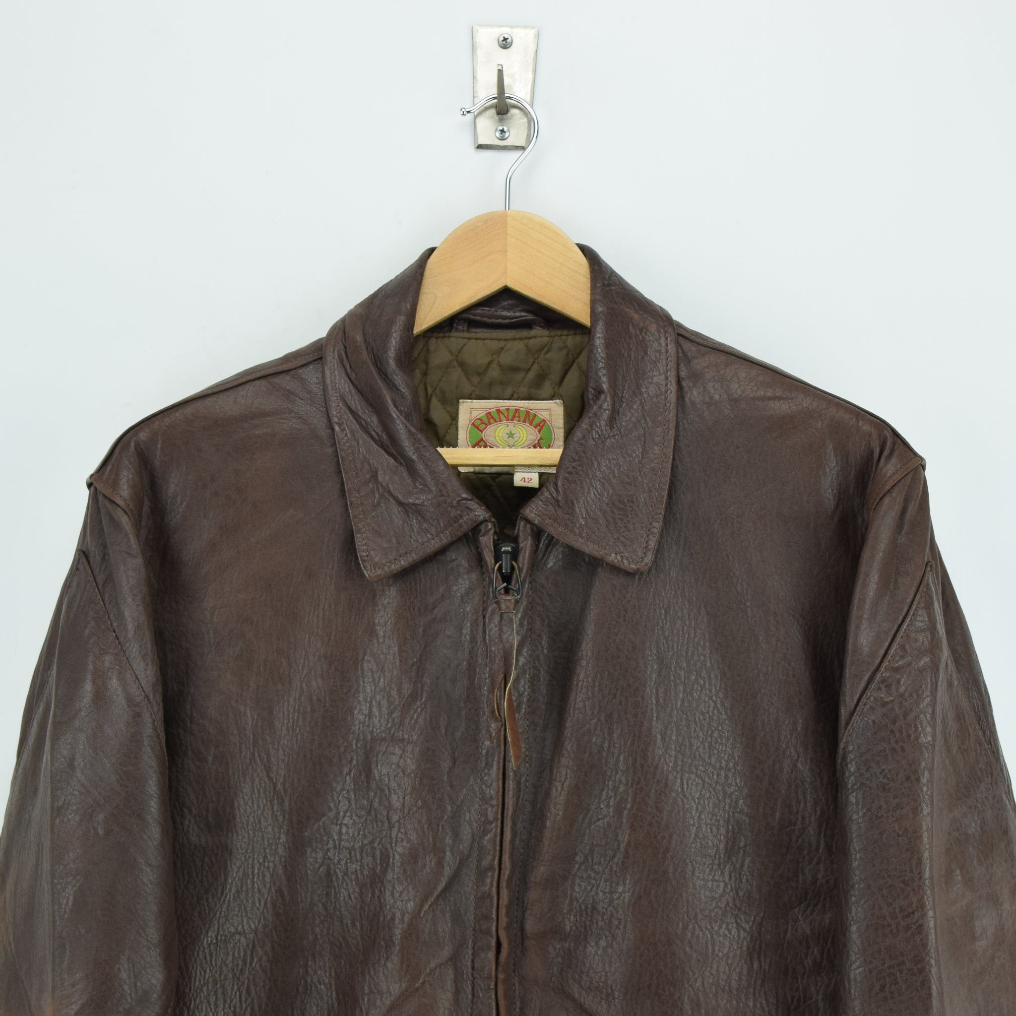 Vintage Banana Republic Brown Leather Bomber Biker Style Jacket Made in USA L chest