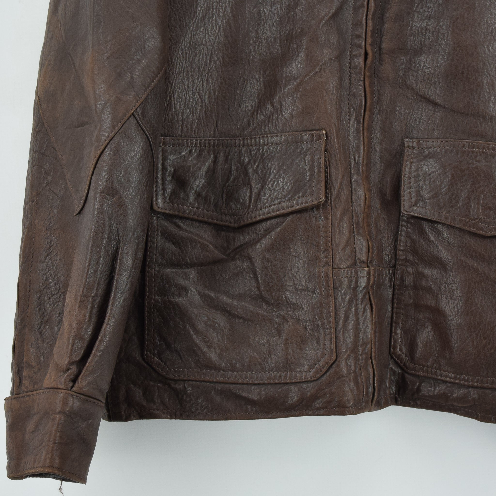 Vintage Banana Republic Brown Leather Bomber Biker Style Jacket Made in USA L front hem