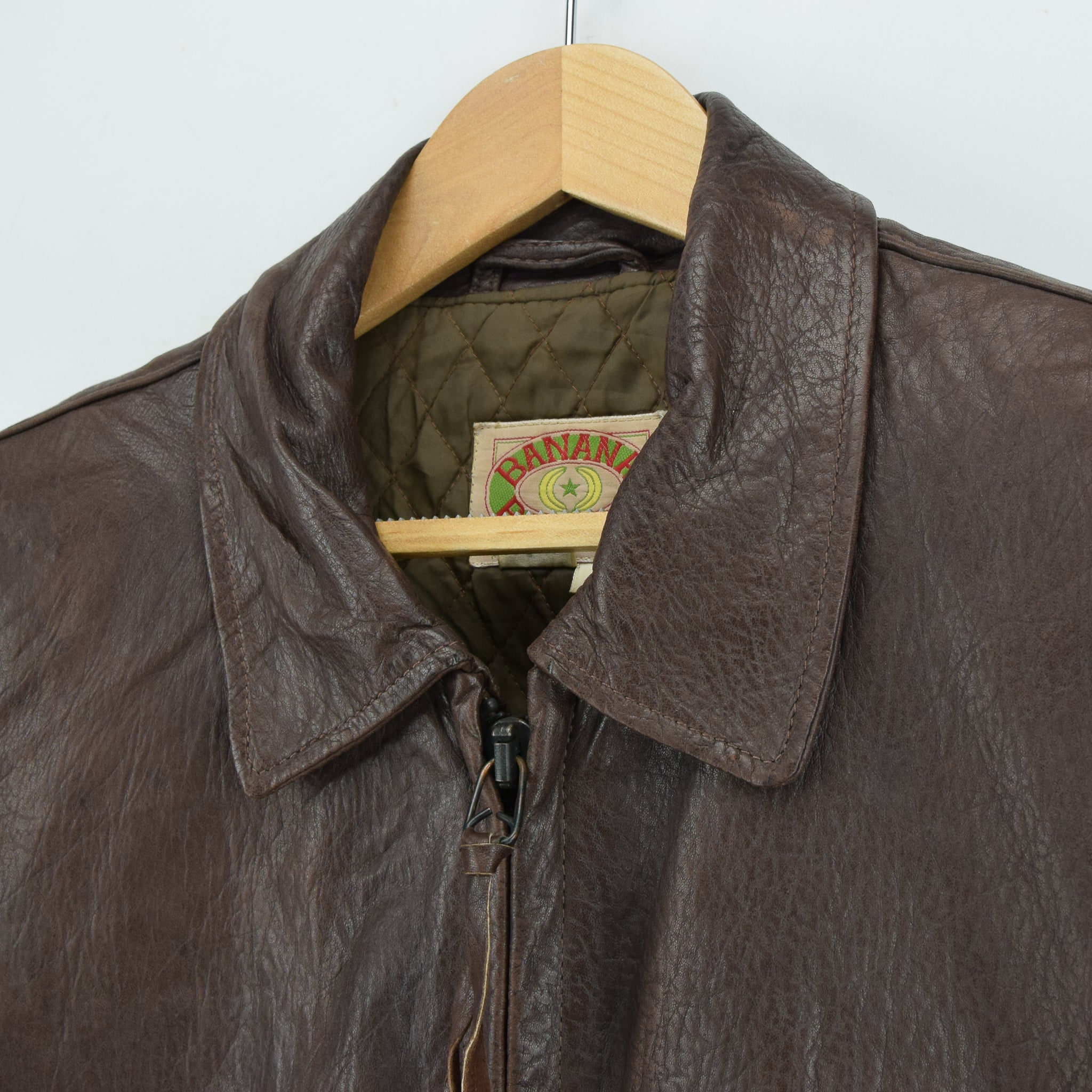 Vintage Banana Republic Brown Leather Bomber Biker Style Jacket Made in USA L collar