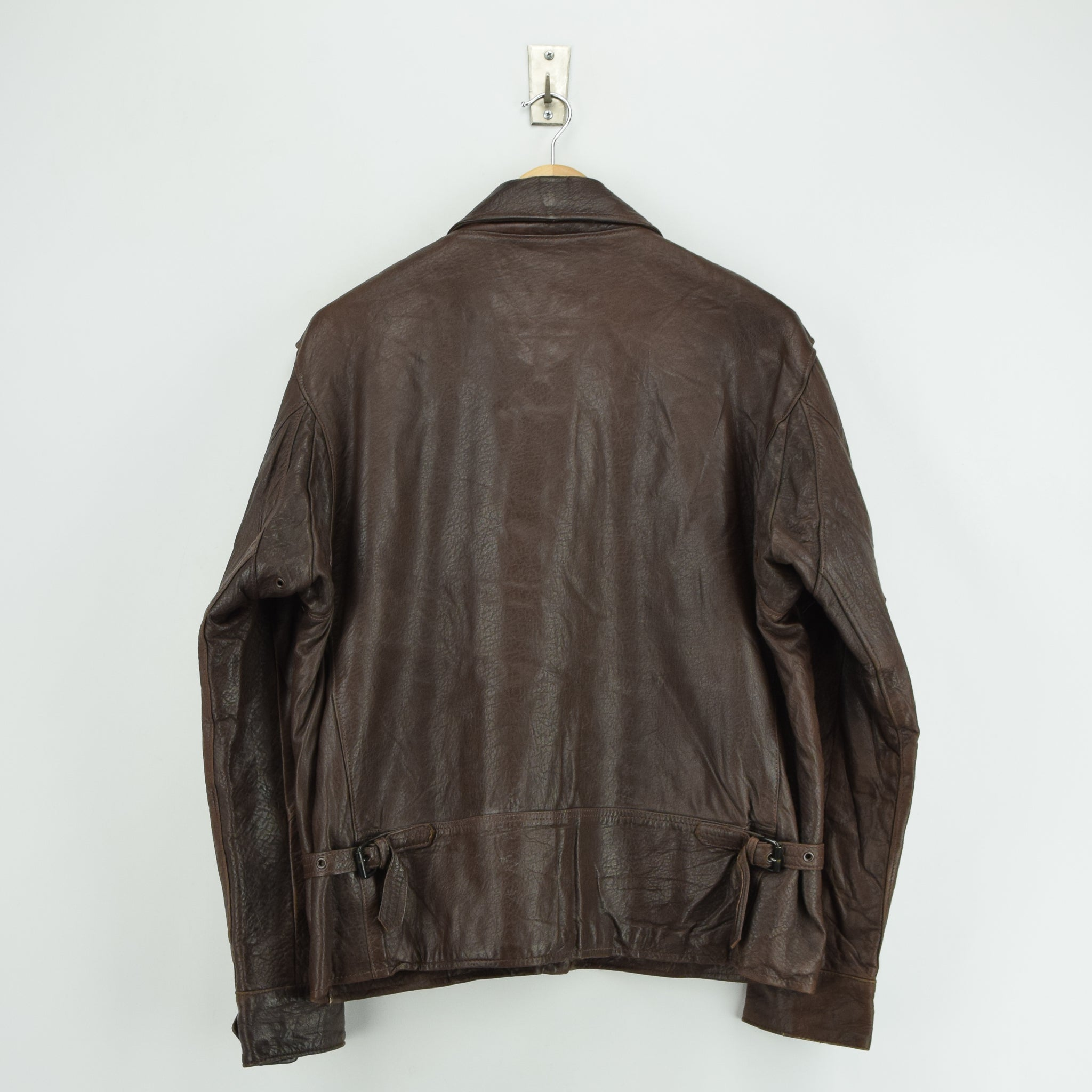 Vintage Banana Republic Brown Leather Bomber Biker Style Jacket Made in USA L back