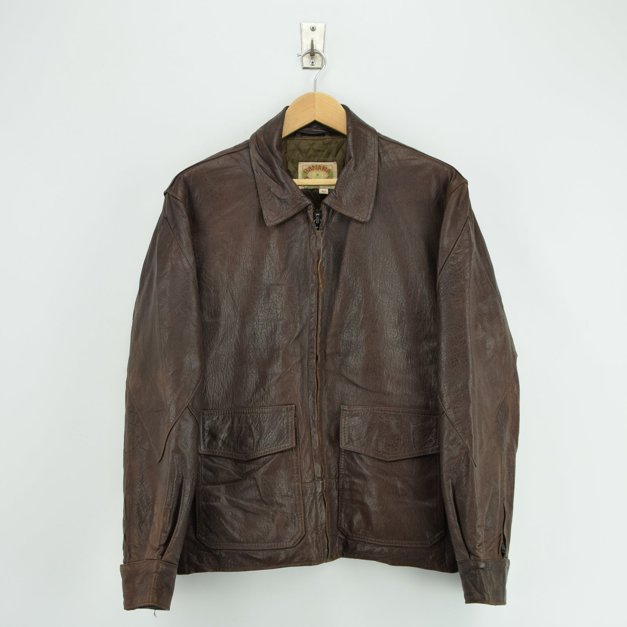 Vintage Banana Republic Brown Leather Bomber Biker Style Jacket Made in USA L front]