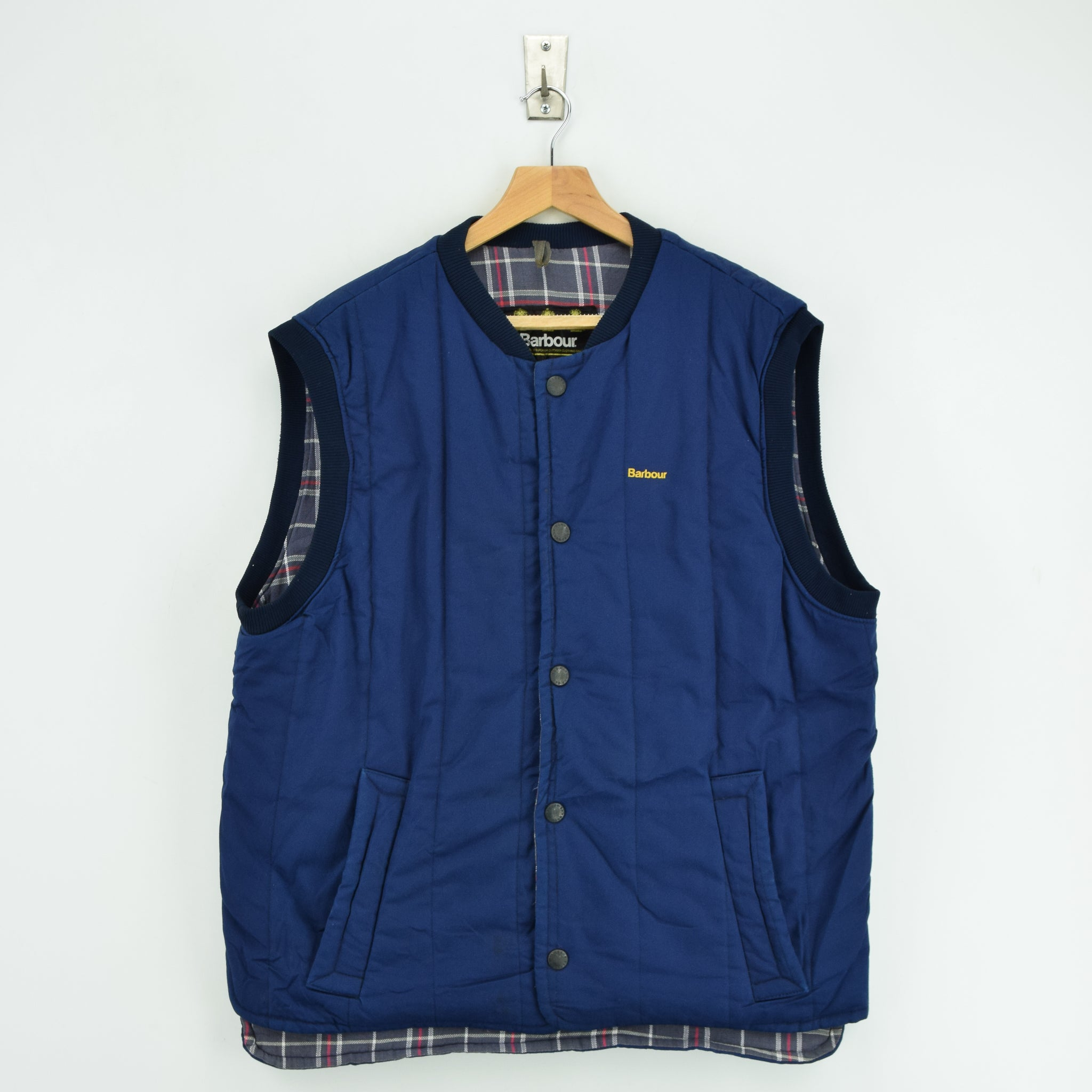 Vintage Barbour Shooting Hunting Blue Quilted Gilet Vest Made In England M / L front