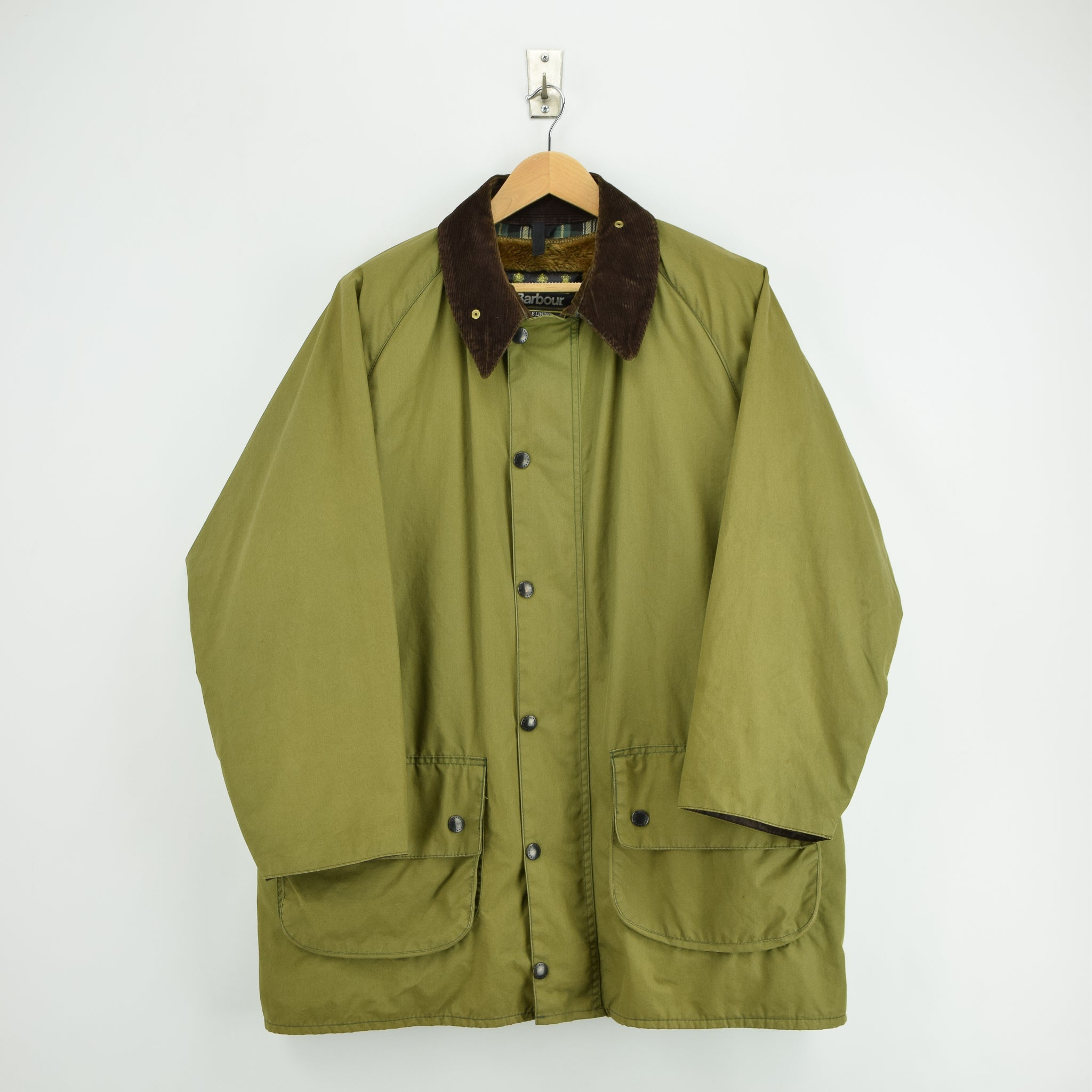 Vintage Barbour Gamefair Green Jacket Coat Made In England L / XL front