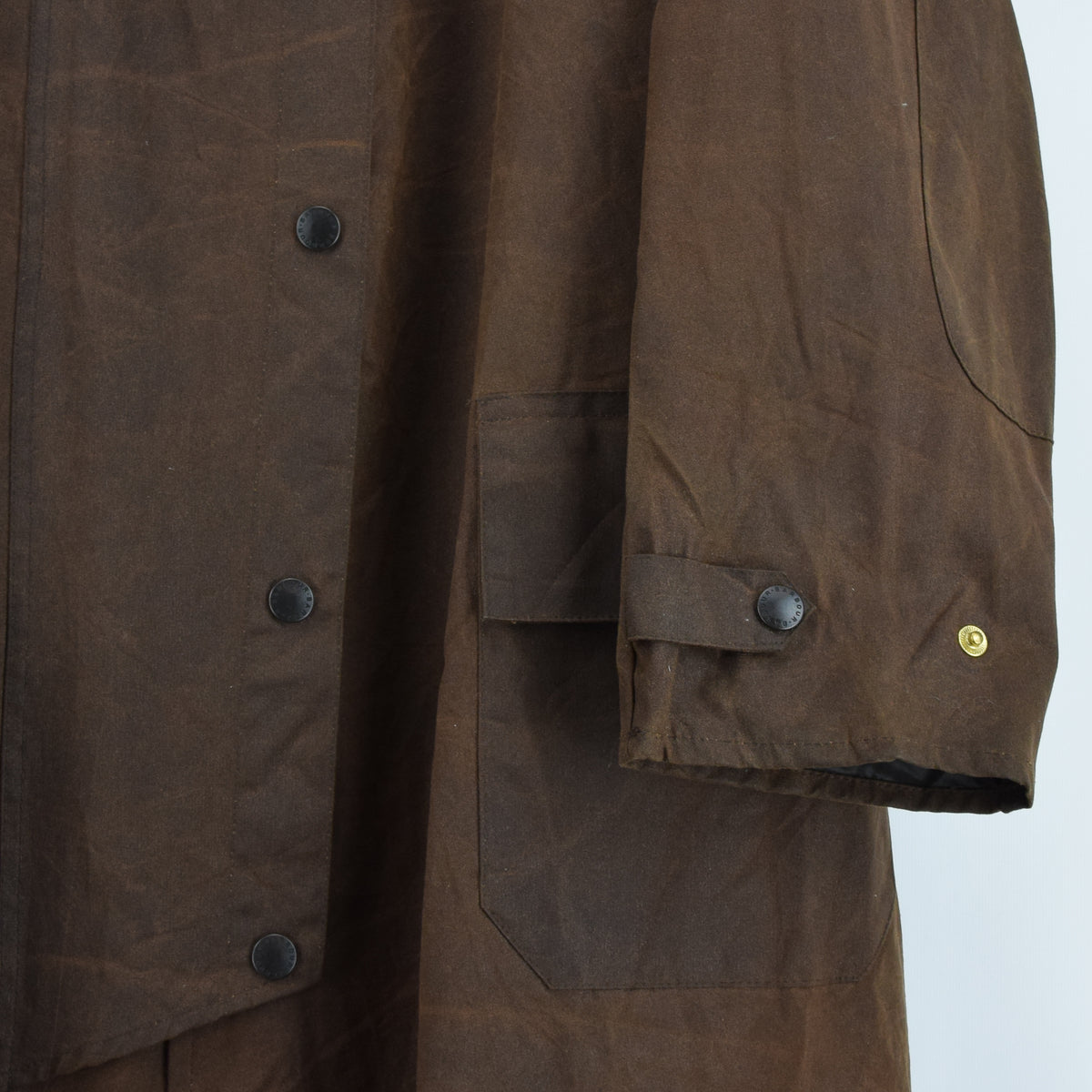Vintage Backhouse Brown A1250 Stockman's Coat Wax Cotton Riding Jacket S front hem