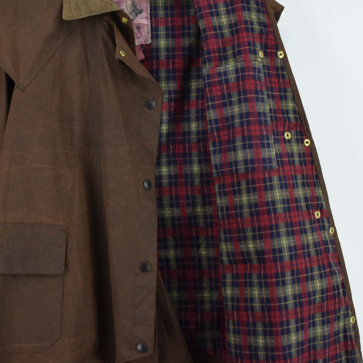 Vintage Backhouse Brown A1250 Stockman's Coat Wax Cotton Riding Jacket S internal lining