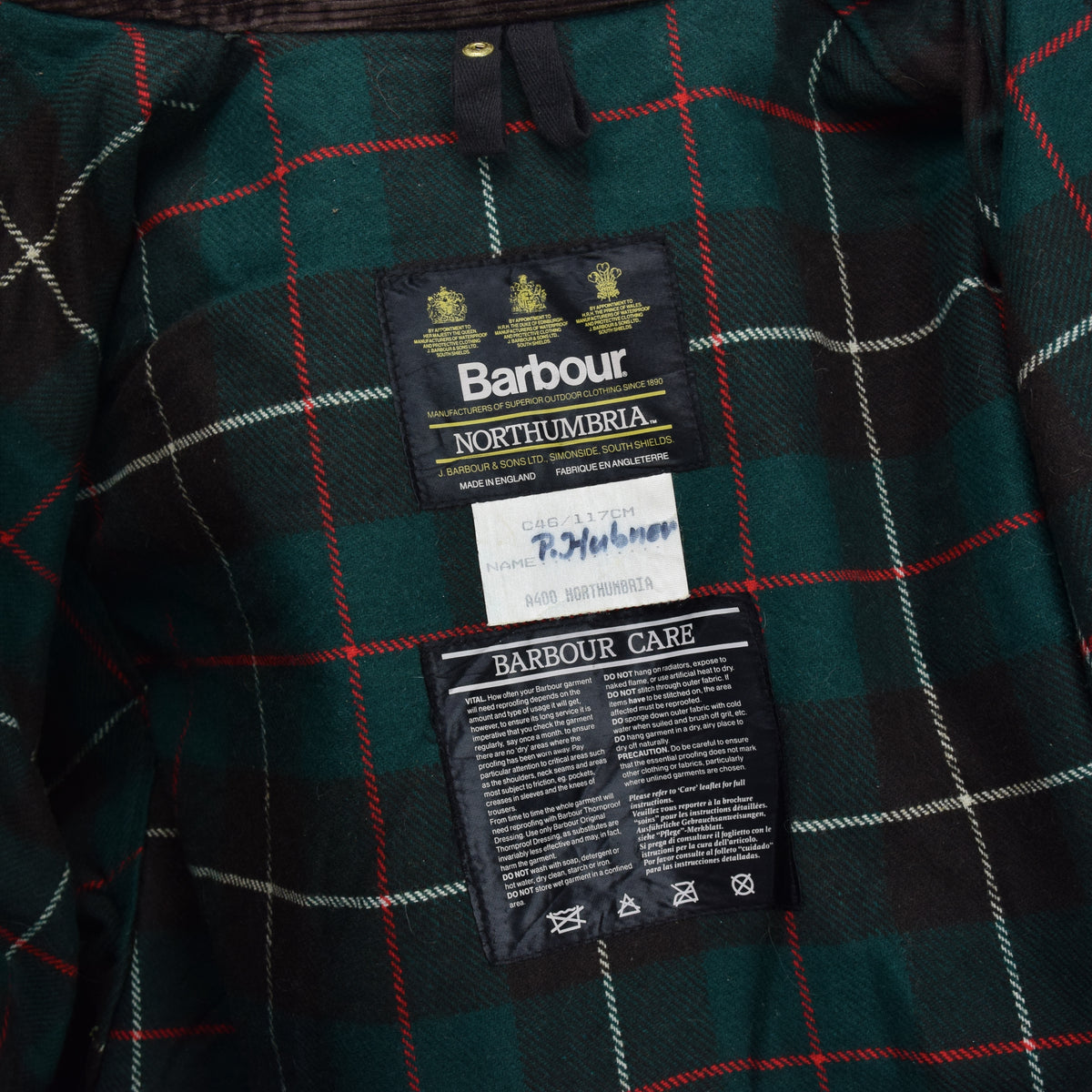 Vintage Barbour A400 Northumbria Green Wax Jacket Coat Made In England XXL label