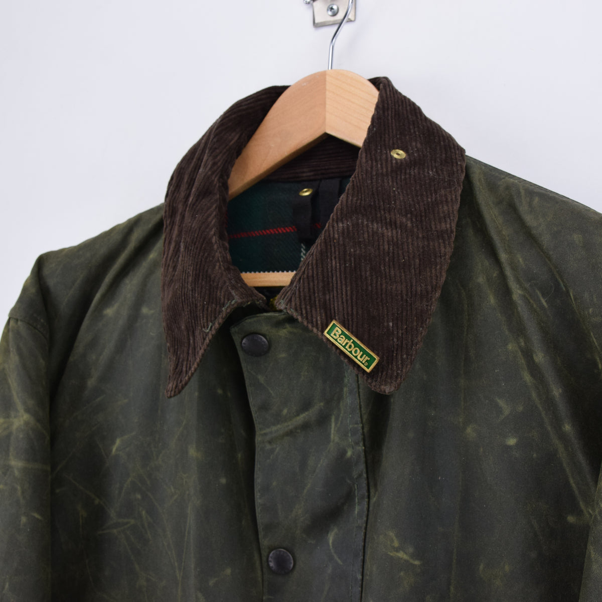 Vintage Barbour A400 Northumbria Green Wax Jacket Coat Made In England XXL collar