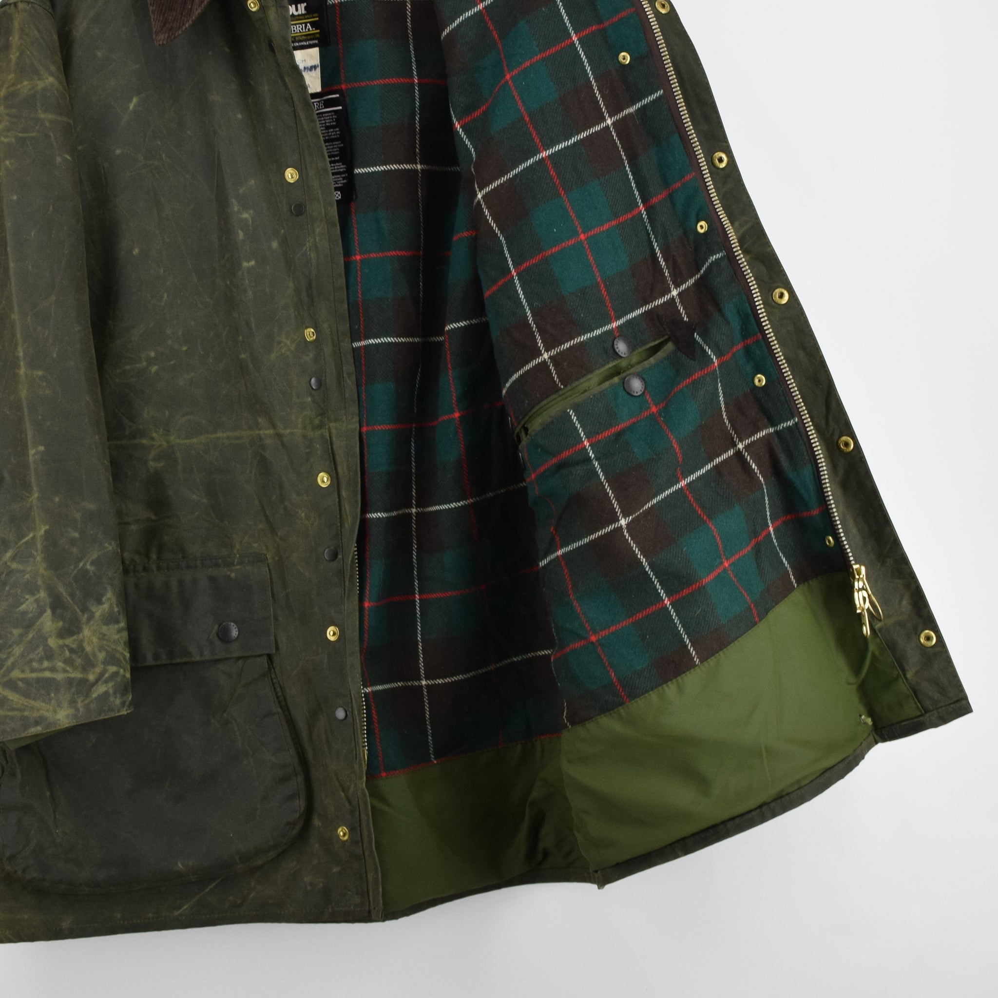 Vintage Barbour A400 Northumbria Green Wax Jacket Coat Made In England XXL lining