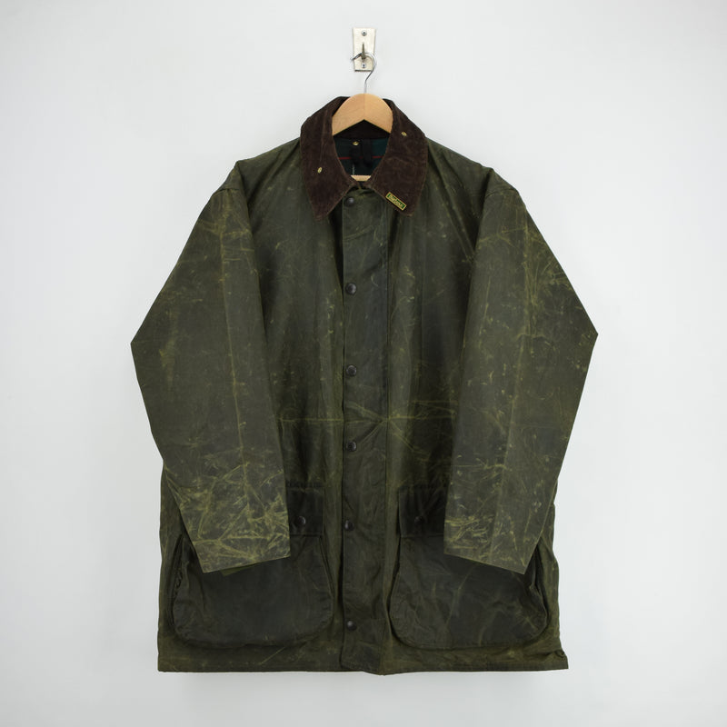 Vintage Barbour A400 Northumbria Green Wax Jacket Coat Made In England XXL front