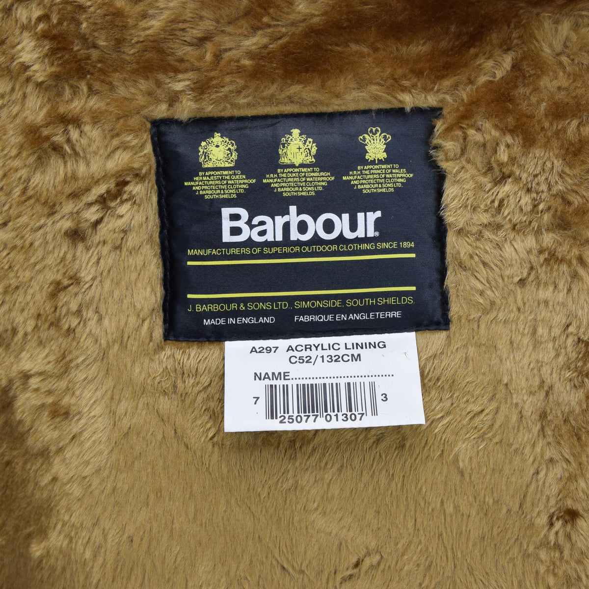 Vintage Barbour A297 Acrylic Lining Faux Fur Liner Made In England C52 / 132cm label