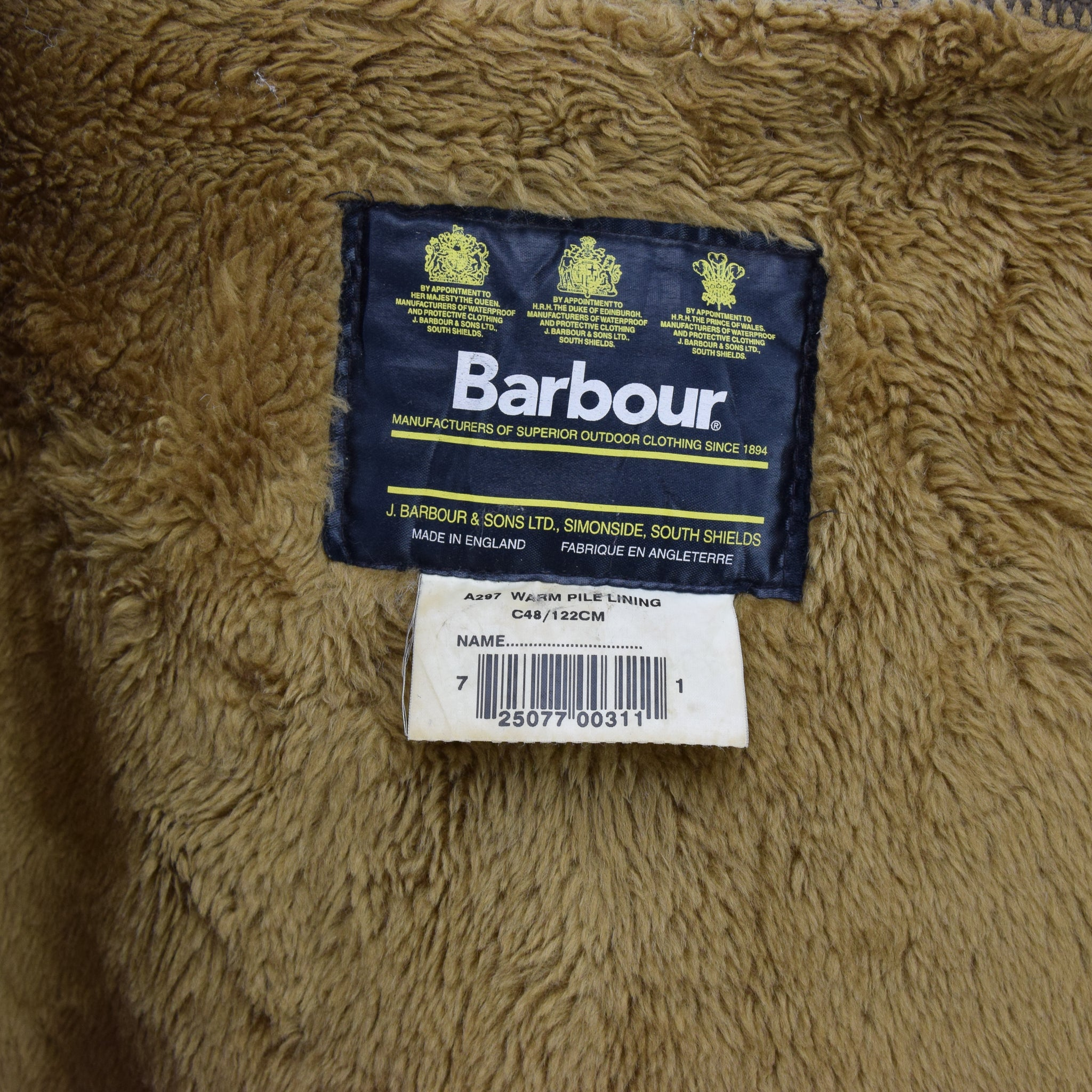 Vintage Barbour A297 Warm Pile Lining Faux Fur Liner Made In England C48 / 122cm label
