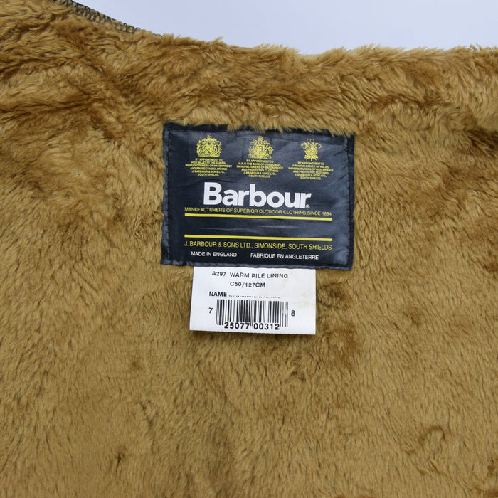 Vintage Barbour A297 Warm Pile Lining Faux Fur Liner Made In England C50 / 127cm label