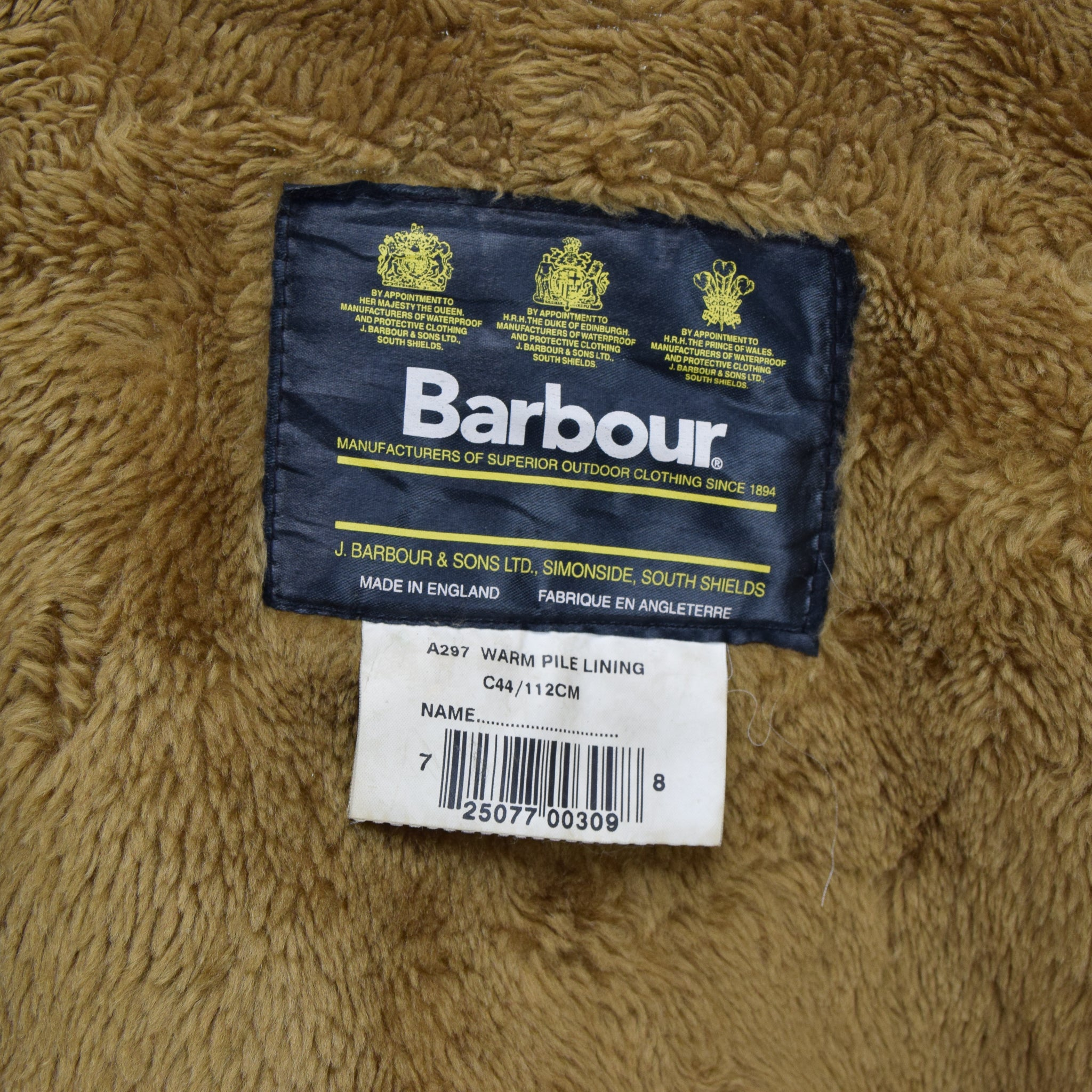 Vintage Barbour A297 Warm Pile Lining Faux Fur Liner Made In England C44 / 112cm label