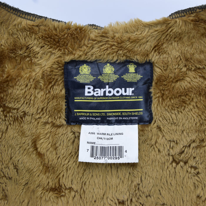 Vintage Barbour A295 Warm Pile Lining Faux Fur Liner Made In England C44 / 112cm label