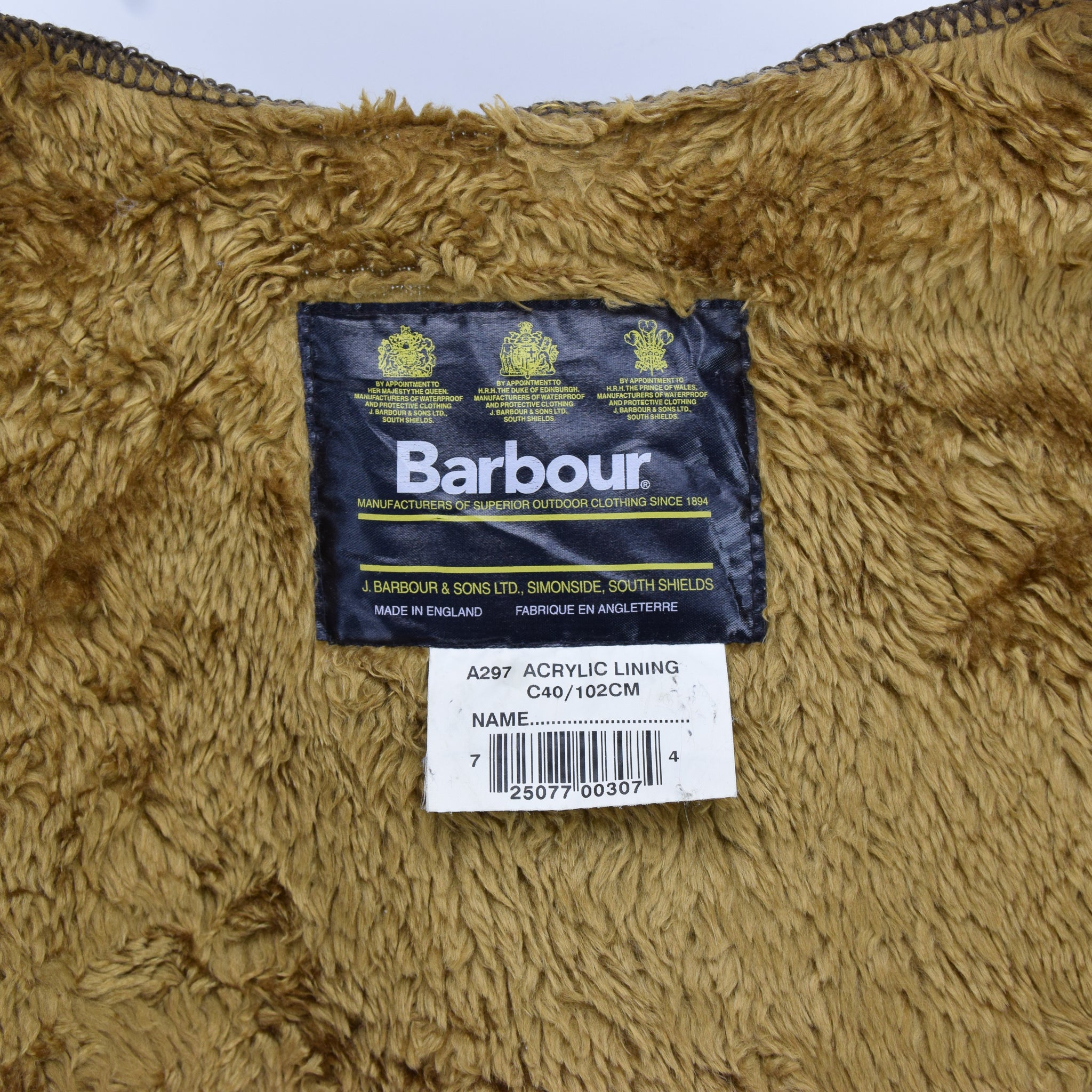 Vintage Barbour A297 Pile Faux Fur Acrylic Liner Made In England C40 / 102cm label