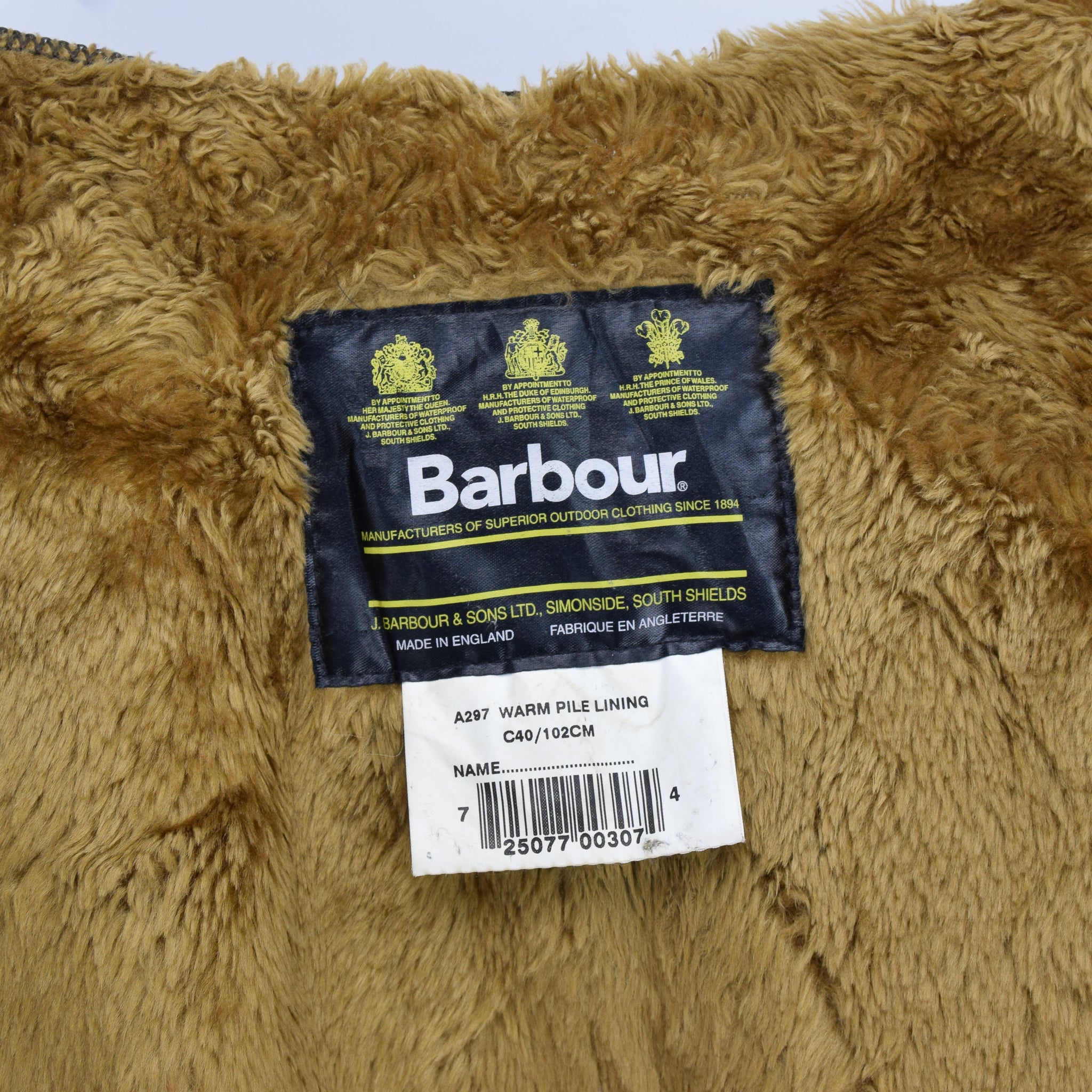 Vintage Barbour A297 Warm Pile Lining Faux Fur Liner Made In England C40 / 102cm label