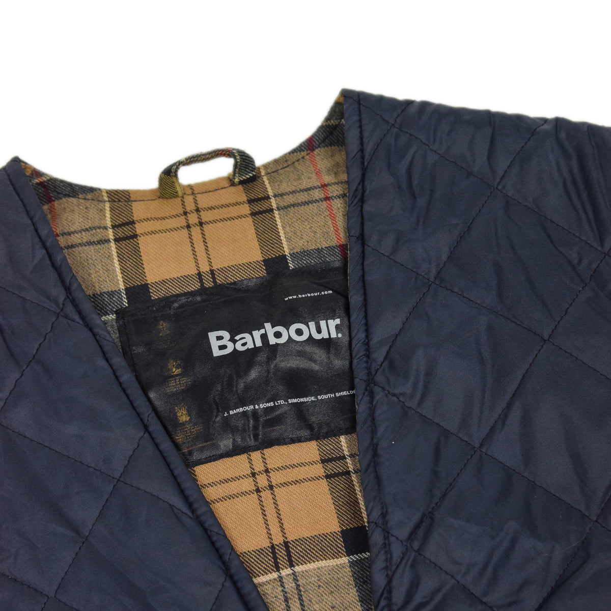 Vintage Barbour Blue Quilted Gilet Vest Jacket Liner Tartan Zip Lining XS Label