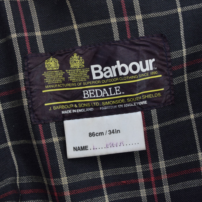 Vintage Barbour 80s 2 Crest Bedale 4 Pocket Wax Jacket Made In England XS / S label