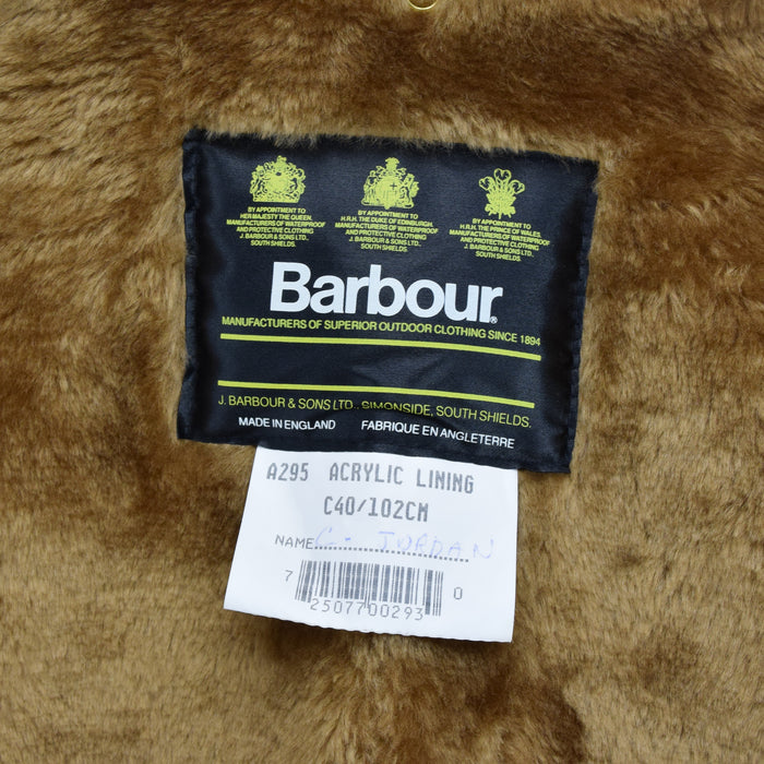 Vintage Barbour A295 Acrylic Lining Faux Fur Liner Made In England C40 / 102cm