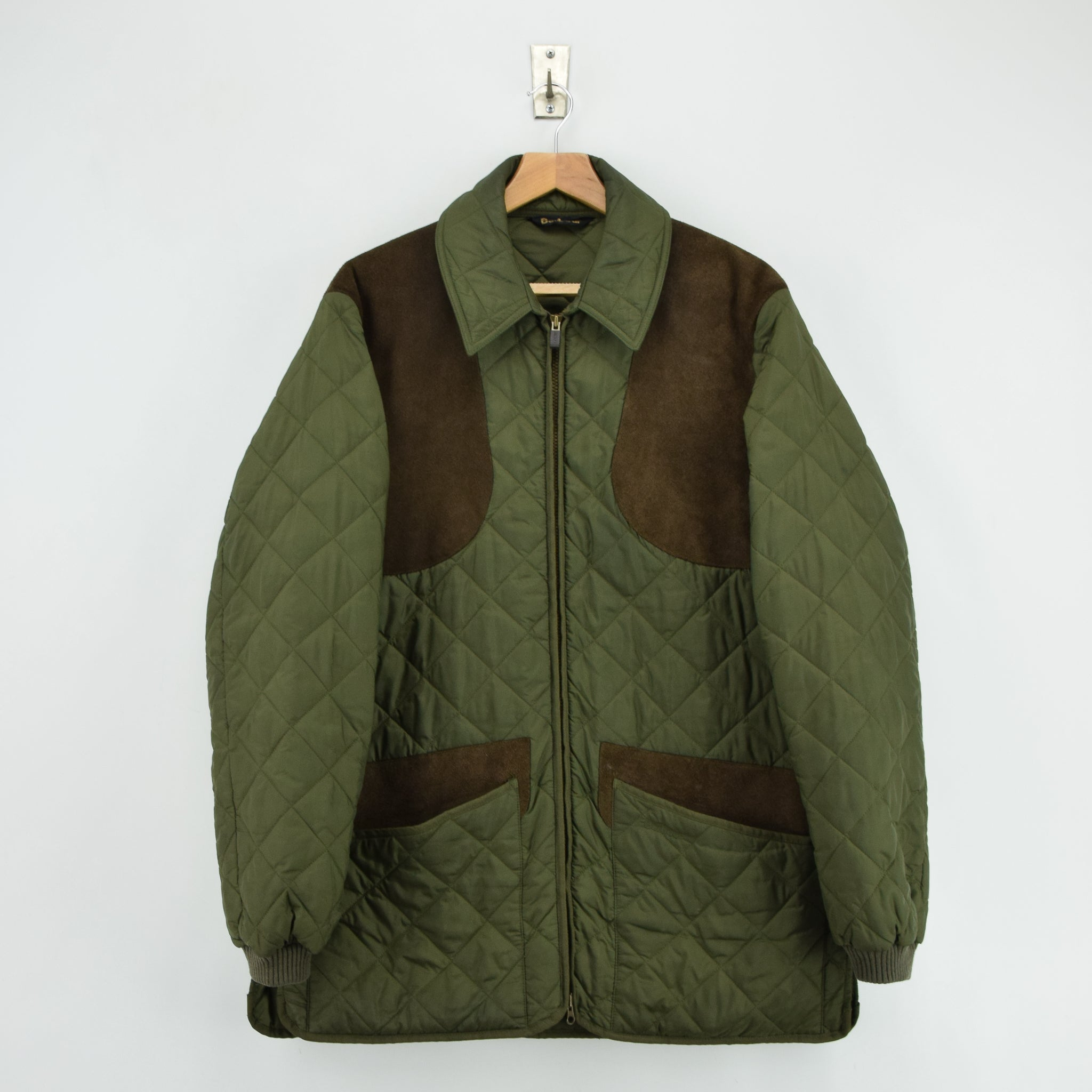 Barbour New Keeperwear Hunting Green Quilted Shooting Jacket Suede Patches M front