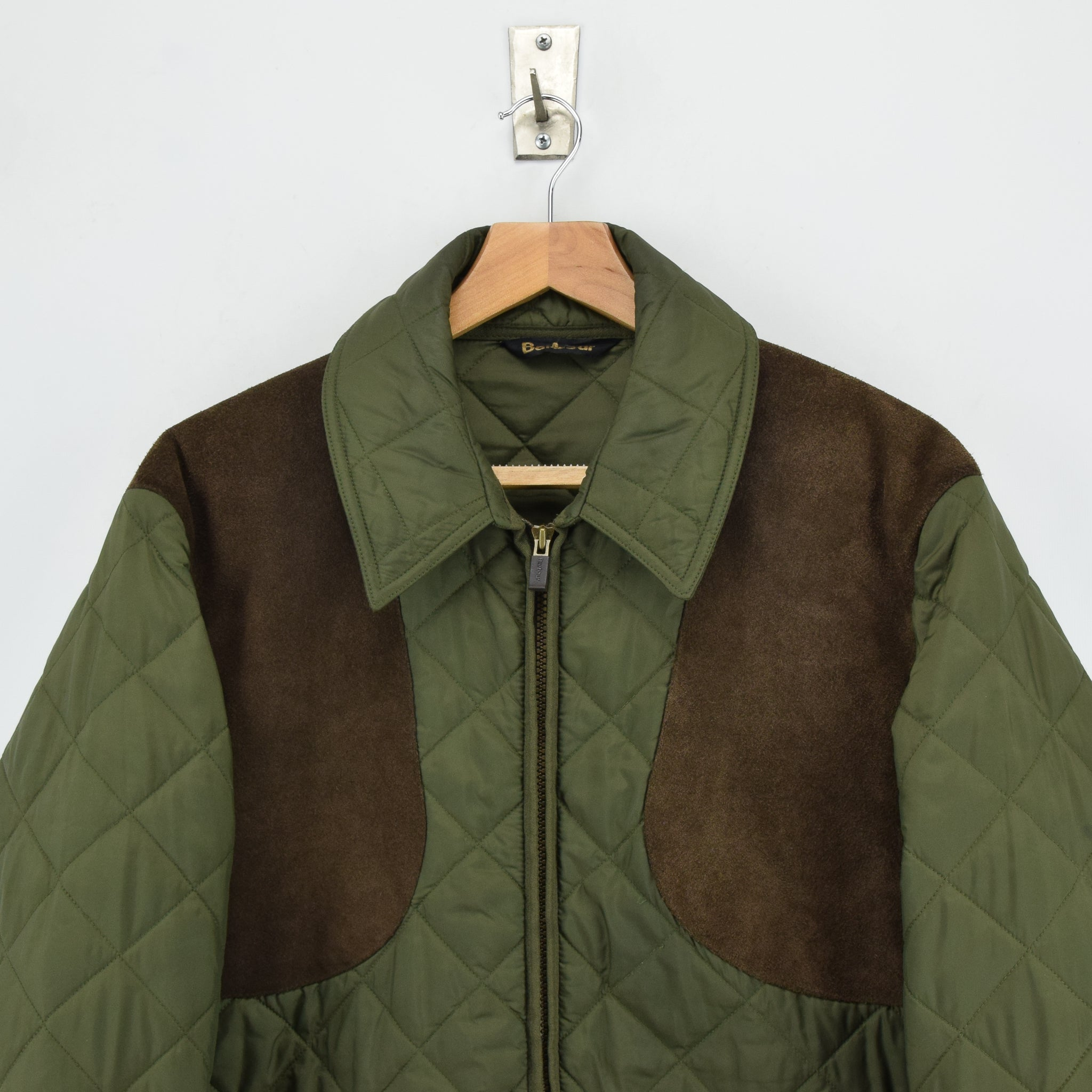 Barbour New Keeperwear Hunting Green Quilted Shooting Jacket Suede Patches M chest